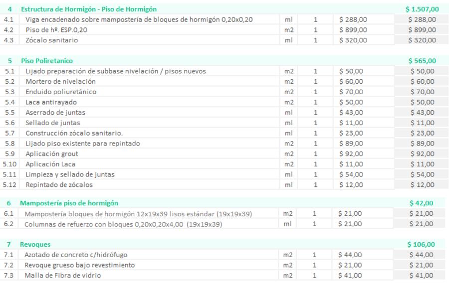 Planilla de Excel para Presupuesto de Obra
