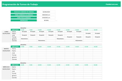 Planilla de Excel para Programación de Turnos de Trabajo