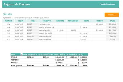 Planilla de Excel para el Registro de Cheques