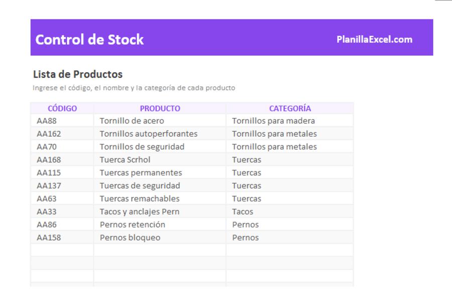 Planilla de Excel para Control de Stocks