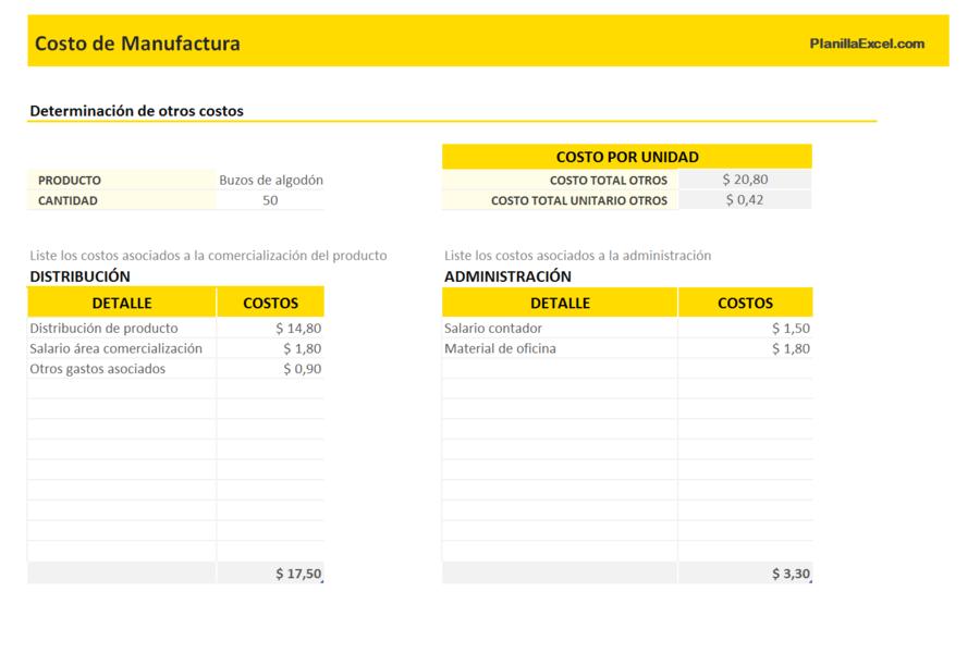 Planilla de Excel para Costo de Manufactura