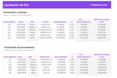Planilla de Excel para Liquidación de IVA