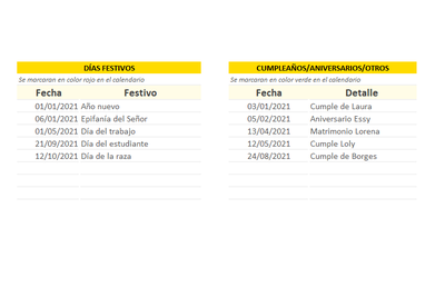 Calendario 2021 en Excel