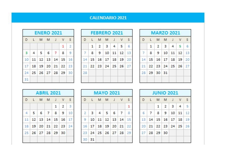 Calendario 2021 domingo a sábado en Excel