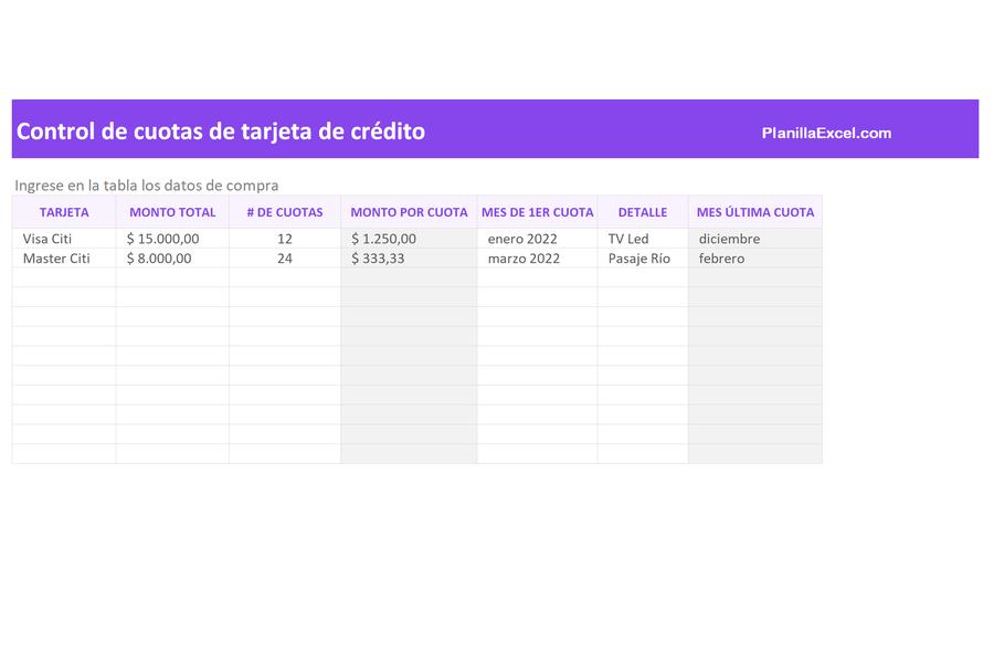 Planilla de Excel para Control de Cuotas de Tarjeta de Crédito
