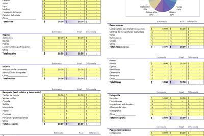 Planilla de Excel para Presupuesto de Casamiento