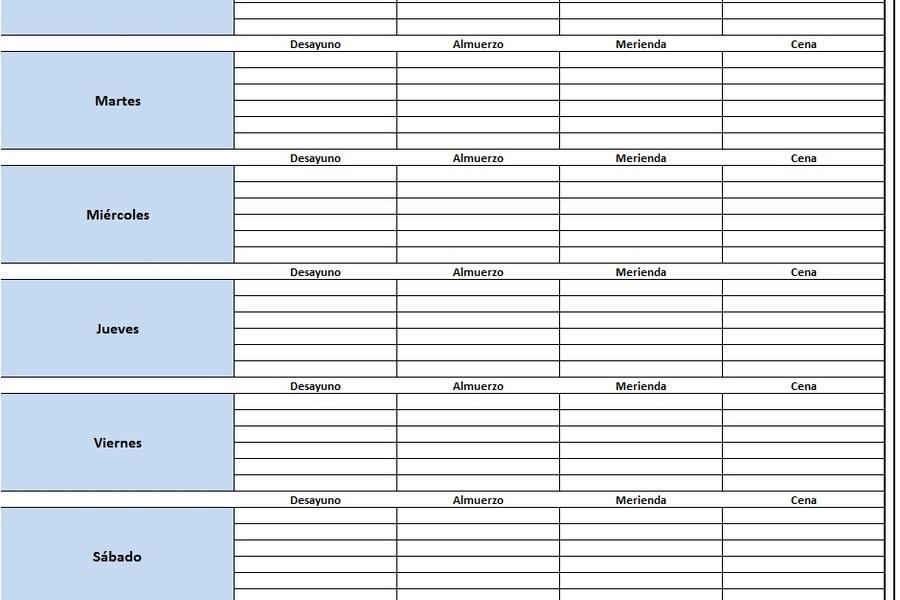 Planilla de Excel para el Control de Alimentación Semanal