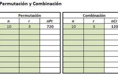 Planilla de Excel de Permutación y Combinación
