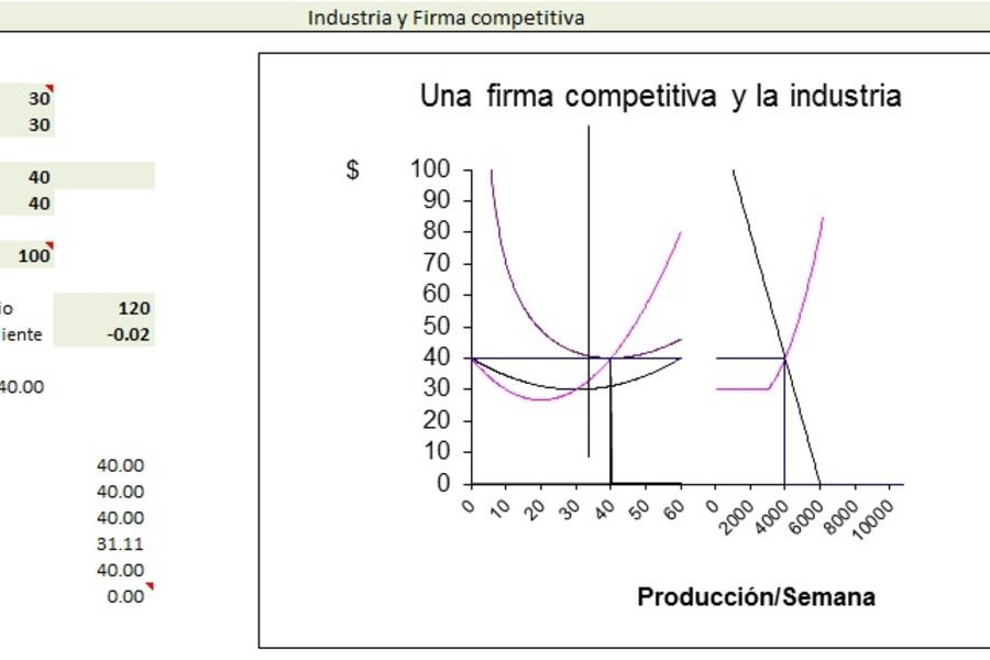 Planilla de Excel de equilibrio de firma Competitiva e Industria