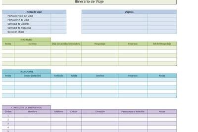 Planilla de Excel de Itinerario de Viaje