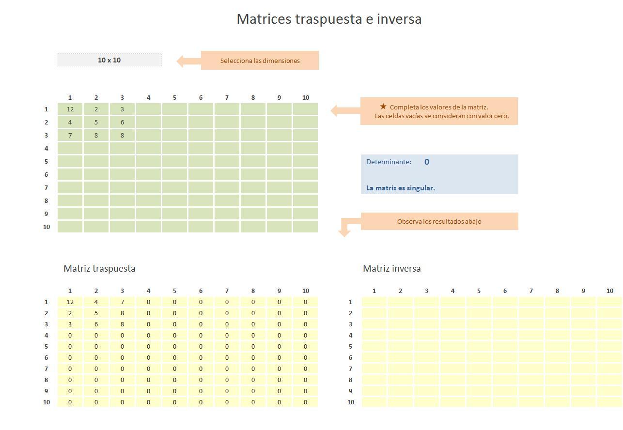 Calculadora de Matrices inversas en excel - PlanillaExcel.com