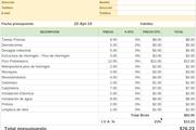 Small planilla de google de presupuesto de obra