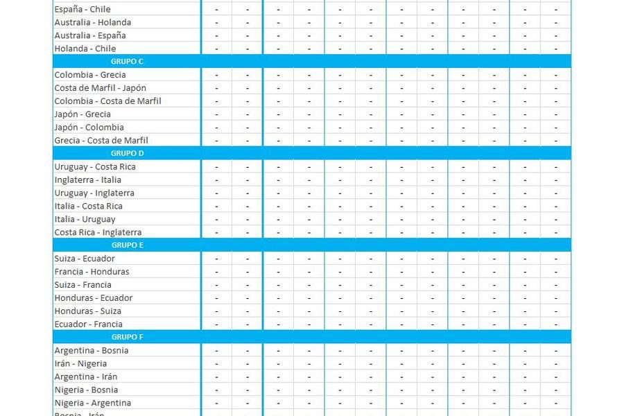 Prode-Quiniela del mundial 2014 en Excel