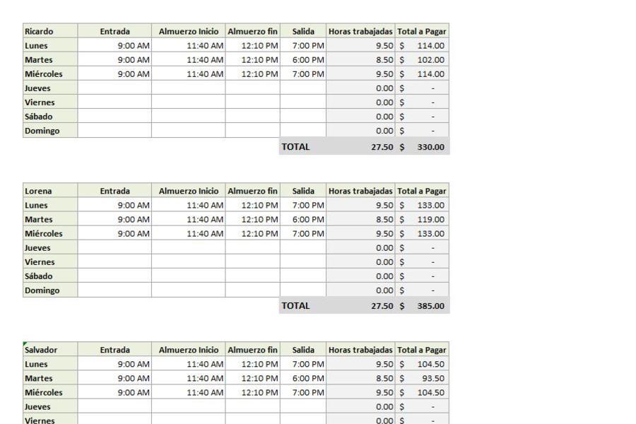 Calculo de horas a pagar en Excel