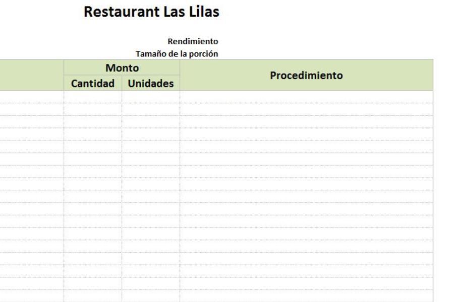 Planilla de Excel de Recetas