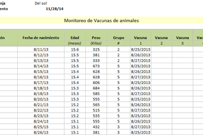 Planilla de Excel de Monitoreo de Vacunas en Ganado