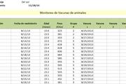 Small planilla de excel de monitoreo de vacunas en ganado