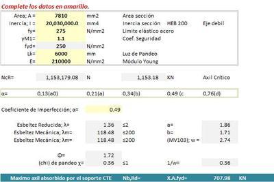 Planilla de Excel de Coeficiente de Pandeo