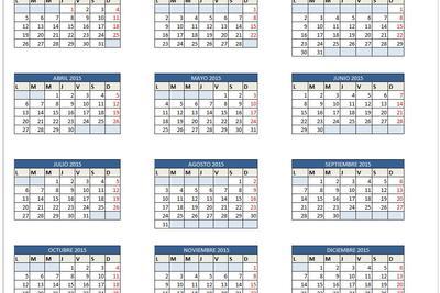 Planilla de Excel de Calendario 2015