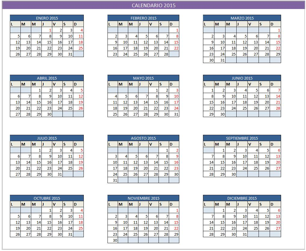 ... 157kB, Calendarios plantilla excel calendario 2015 descargar gratis