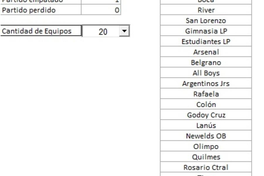 Planilla de Excel para Tabla de Posiciones - PlanillaExcel.com