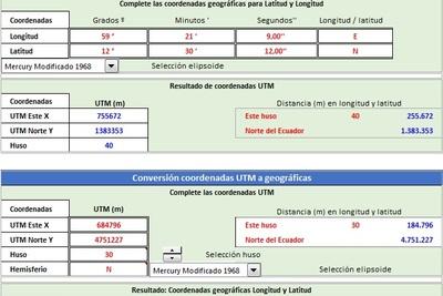 Planilla de Excel de Conversor Coordenadas Geográficas a UTM y viceversa