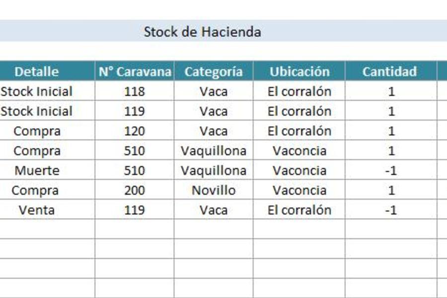 Planilla de Excel de Stock de Hacienda - PlanillaExcel.com