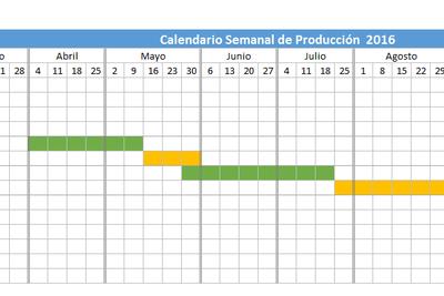 Planilla de Excel Calendario de Producción 2016