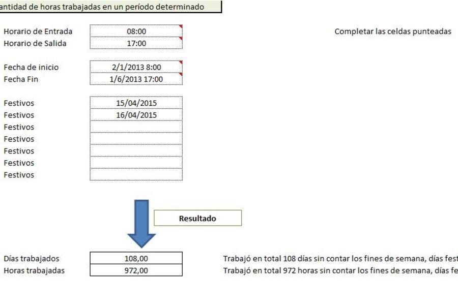 Cálculo de horas entre 2 fechas en Excel