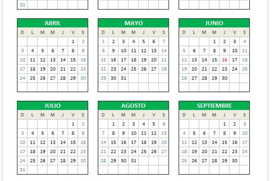 Planilla de Excel Calendario 2016 (domingo a sábado)