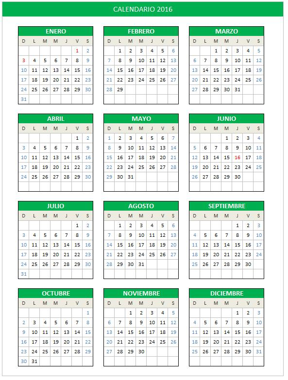 planilla de excel calendario 2016 domingo a sábado planillaexcel com