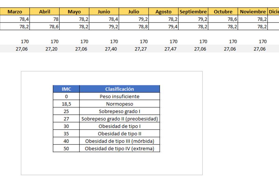 Planilla de Excel control de peso diario