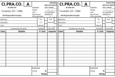 Planilla de Excel de Nota de Débito