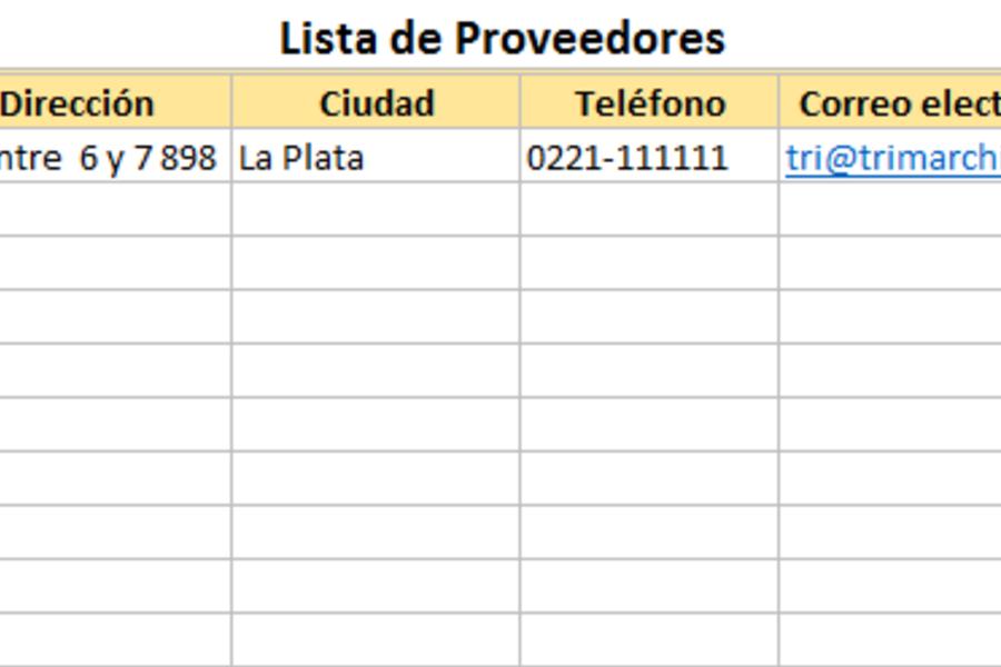 Planilla de Excel de Lista de Proveedores