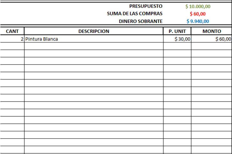 Planilla de Excel de Planeamiento de Compras