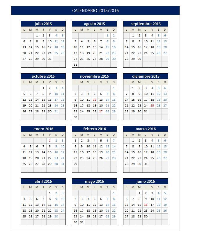 Calendario 2015/2016 en Excel - PlanillaExcel.com