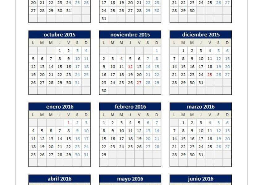 Calendario 2015/2016 en Excel