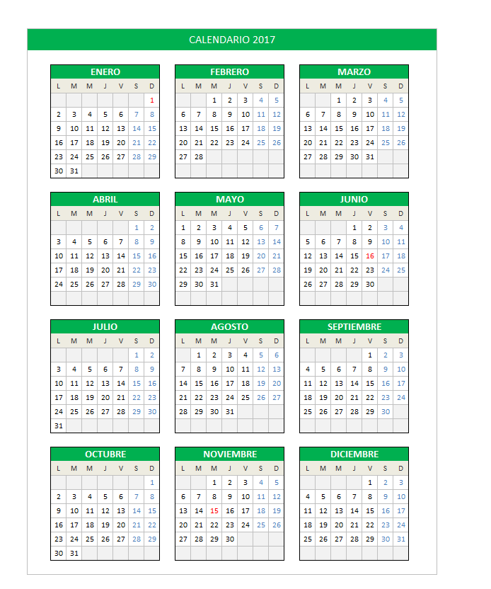 Calendario 2017 en Excel - PlanillaExcel.com
