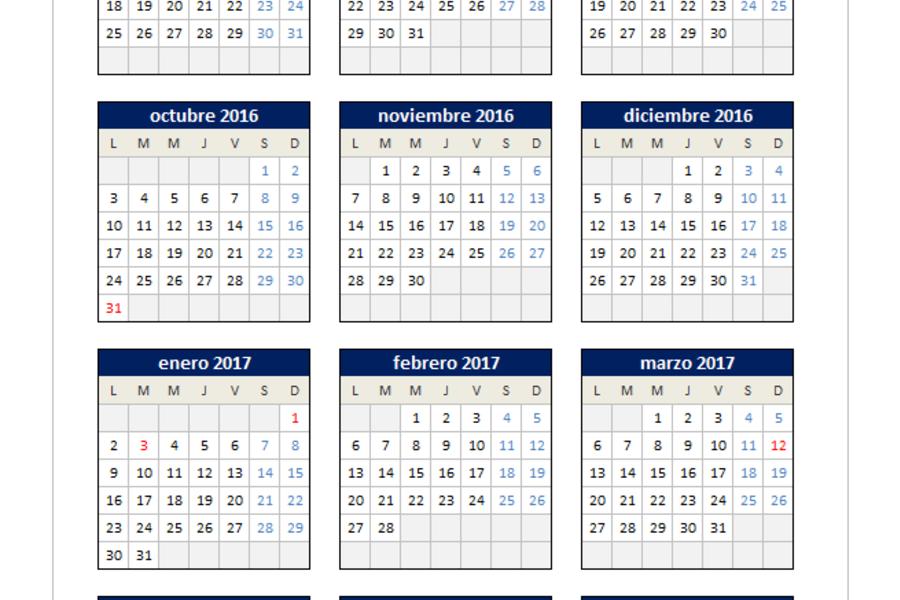 Calendario 2016/2017