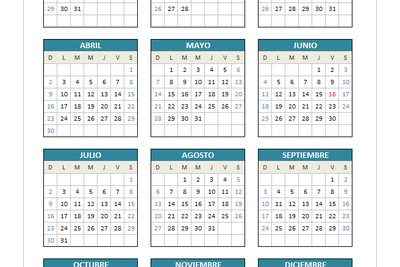 Calendario 2017 (domingo a sábado)