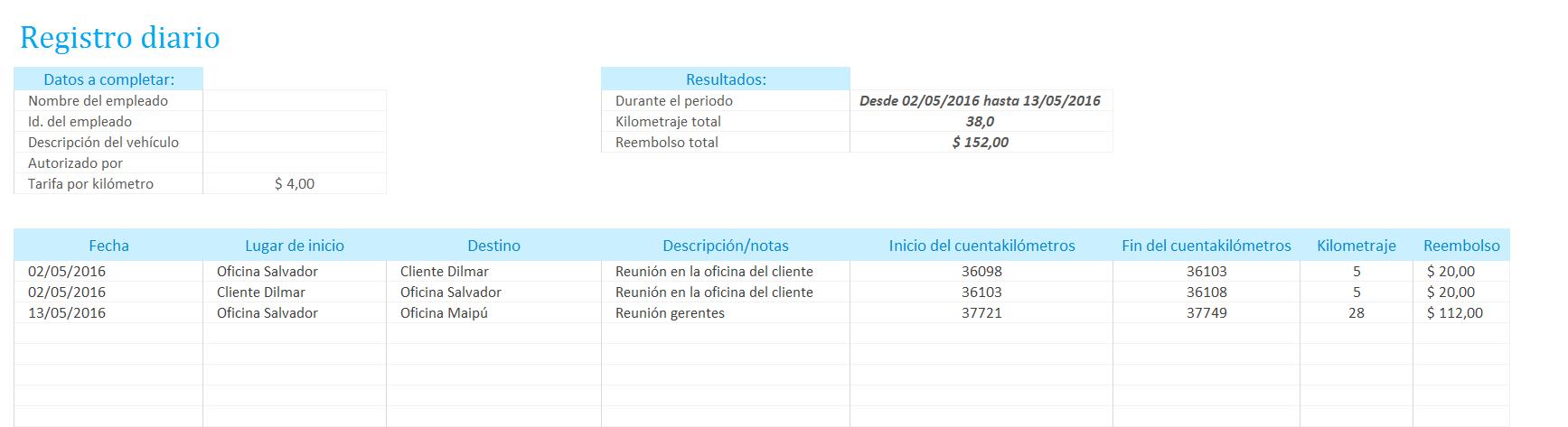 Planilla de Excel para el Registro de Kilómetros y Reembolso ...