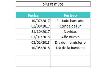 Calendario 2017/2018 en Excel