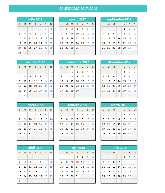 calendario 2018 en excel - Yeni.mescale.co