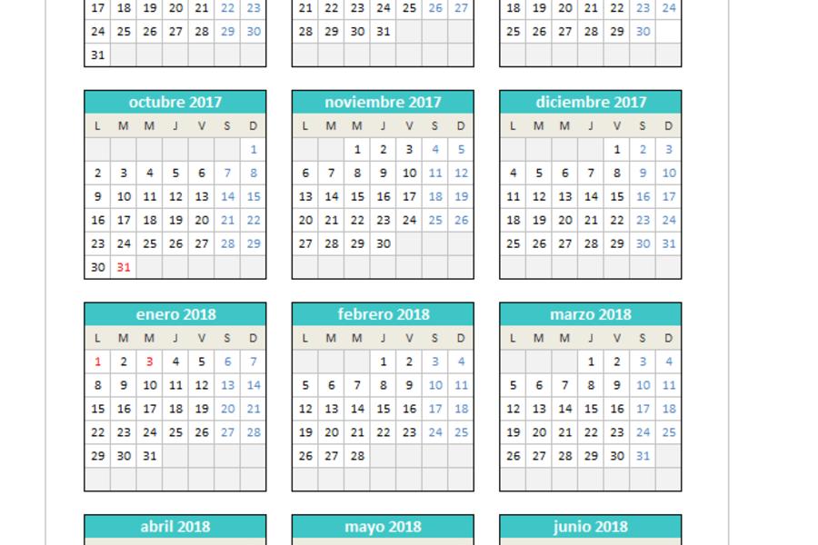 Calendario 2017/2018 en Excel - PlanillaExcel.com