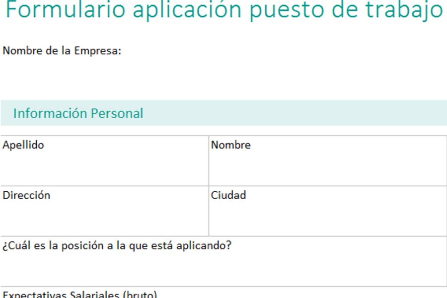 Aplicación de puesto de trabajo en Excel - PlanillaExcel.com