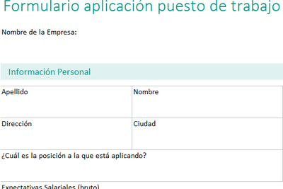 Aplicación de puesto de trabajo en Excel