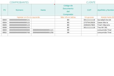 Planilla de Excel para el aplicativo CITI de compras y ventas (AFIP Argentina)