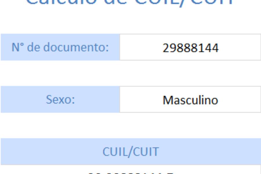 Planilla de Excel para el Cálculo de CUIL (Argentina)