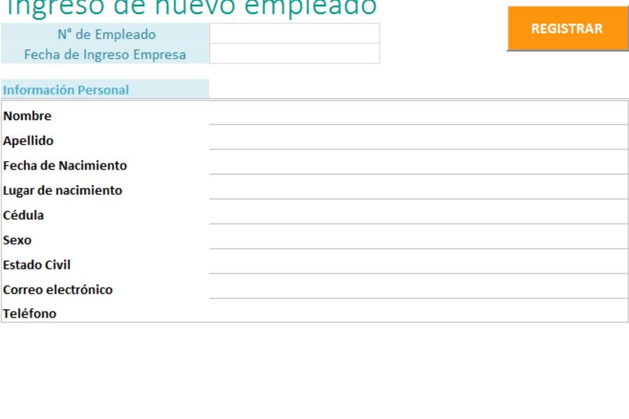 Planilla de Excel Base de Datos Empleados