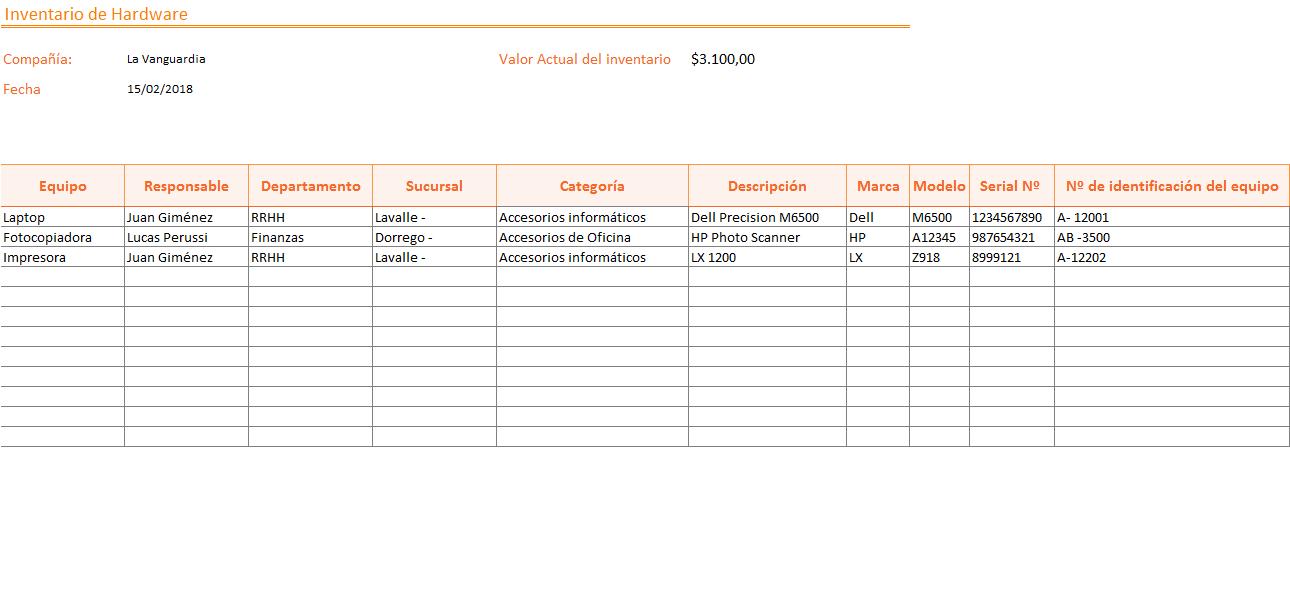 Inventario de Hardware en Excel - PlanillaExcel.com